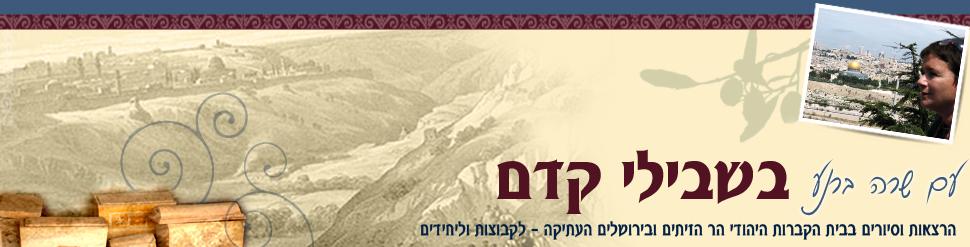 הרצאות וסיורים מודרכים בבית הקברות היהודי הר הזיתים ובירושלים העתיקה – לקבוצות וליחידים | שרה ברנע – מדריכת טיולים מוסמכת